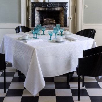 Nappe Coton Azulejos blanche Jacquard